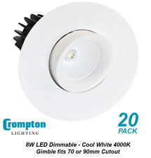 20 x DIMMABLE LED Gimbal Downlight Kits Cool White 4000K 8W 695Lm - 70 or 90mm