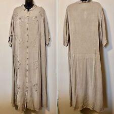 VINTAGE MORE JASMINE PLUS SIZE 2X BUTTON FRONT DRESS BEIGE EMBROIDERED LAGENLOOK