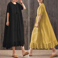 ZANZEA Women Summer Scalloped Hem Flare Plus Size Sundress Long Maxi Lace Dress