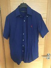 RALPH LAUREN boys navy blue short sleeves shirt size M