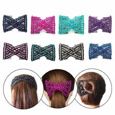Women's Butterfly Wood Beads Double Hair Comb Elastic Head Clip Hair Accessories