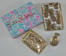 LILLY PULITZER Set of 3 Nesting Trays Gold Metallic Pineapple Dish Catch All NEW