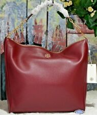 NWT TORY BURCH CARTER Slouchy HOBO Shoulder Bag IMPERIAL GARNET Pebbled Leather