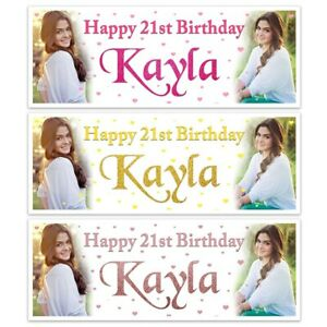 PERSONALISED LADIES BIRTHDAY PARTY NAME BANNERS DECORATION ANY AGE NAME
