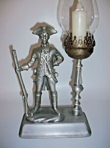 Vintage Colonial Soldier Pewter Candlestick Holder, Rare!