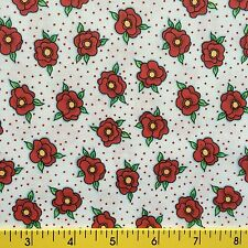 NEEDLEWORK DIVA cotton fabric for sewing quilting red ROSES polka dots 1yd,27""