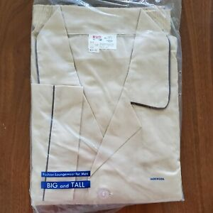 NWT BVD Pajama Set Top Bottoms Men's Big And Tall Size F 52-54 Beige USA Vintage