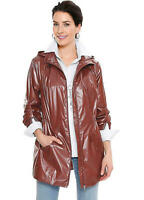 Glossy Chestnut Brown Mid Length Lightweight  Hooded Rain Jacket with Pockets