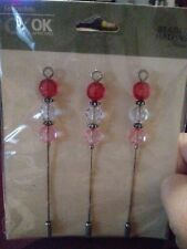 Ck Ok Beaded Hatpins 3pieces -scrapbooking red/clear/pink