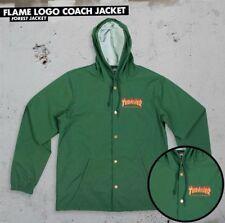 Thrasher Magazine Flames Logo Coach Hooded Windbreaker Jacket Forest Xl