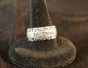"""Sterling Silver band ring """"To thine ownself be true"""" size 8 MWS Thailand"""