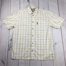 COLUMBIA Short Sleeve Casual Shirt Plaid Subtle Pattern 100% Cotton Men Large