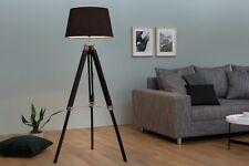 LAMPADAIRE E27 Rétro réglable en hauteur trois pieds bois toile marron noir