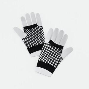 1980's Black Short Fishnet Gothic Style Gloves