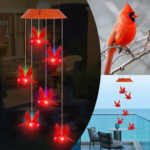 Solar Powered LED Red Cardinal Bird Wind Chime Color-Changing Light Yard Decor