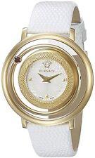Versace Women's VQV030015 Venus Gold IP Red Topaz White Leather Wristwatch