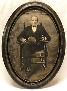 Antique Early 20th C Charcoal Portrait Photo Distinguished Man & Pipe Oval Frame