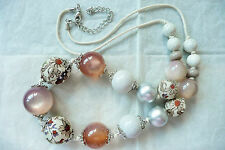 LONG NECKLACE - LARGE BEADS & PEARLS IN BEAUTIFUL COLOURS & FINISHES - BRAND NEW