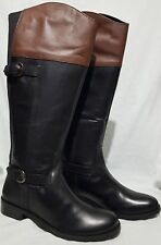 Ladies' Leather Redfoot Riding-Style Boots Black/Brown UK 4