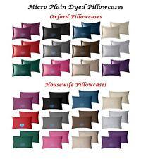 100% Polyester Plain Dyed Oxford & Housewife Pillowcases Pair - Satin Silk Feel