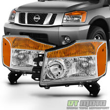 For 2004-2015 Titan 04-07 Armada Pickup Headlights Headlamps Left+Right Pair Set
