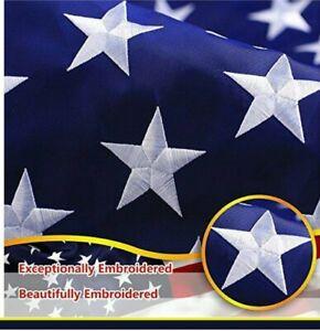 G128 – American Flag US USA   8x12 ft   Embroidered Stars, Sewn Stripes