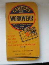 1957 Carter's Overalls Dungarees Advertiment Calendar NOTEBOOK H.W. Carter & Son