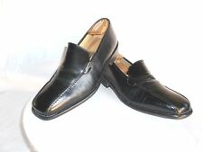 Men's Marshal Fields Elegant Black Leather Dress Loafers Size 9.5 M