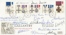 Royal Mail FDC Full Set Gallantry Signed 16 all involved WW11, VC, GC,DFC