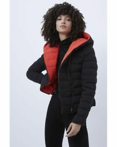 French Connection Iola Womens Quilted Puffer Coat (Black/Red) RRP £130.00