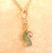 "authentic green tourmaline light brown diamond briolette necklace 18k gold 16"""