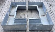 OLD VTG ANTIQUE GALVANIZED NOS SQUARE CORNER RAIN GUTTER EAVESTROUGH SET OF 4