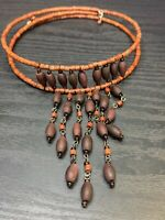 Vintage Bohemian Brown Wood Beaded Choker Double Flex Wire Necklace