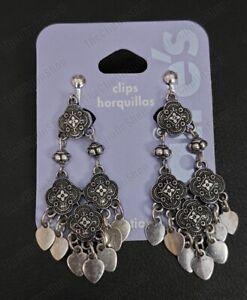"CLIP ON 2.25""long EARRINGS gypsy chandelier VINTAGE SILVER FASHION metal ethnic"