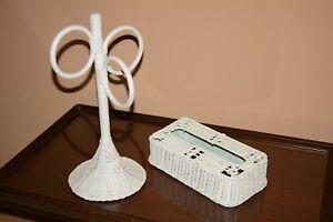 Vintage Wicker, Bathroom, Kitchen, Tissue Holder Box &Towel Holder Set 1960's
