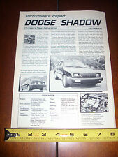 1987 DODGE SHADOW TURBOCHARGED - ORIGINAL ARTICLE