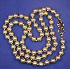 "Vintage Kenneth Jay Lane KJL 34"" Golden Champagne Glass Faux Pearl Necklace"