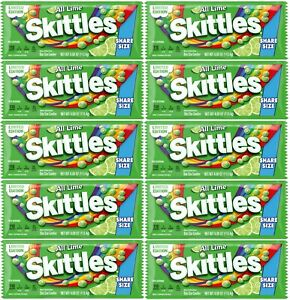 10 SHARE SIZE All Lime Skittles Limited Edition 4.00 OZ Packs Free  Shipping NEW