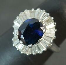 Platinum 3ct Sapphire 1.75ct Diamond Ballerina Cluster Ring