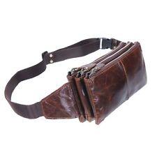 Men Real Leather Multi Pocket Running Belt Waist Bag Zip Phone Wallet Crossbody