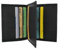 Black Genuine Leather Men's Wallet Credit Cards Holder Center Flap Thin