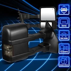 For 99-07 Ford F250-550 Super Duty Power Heated Smoked LED Side Towing Mirrors
