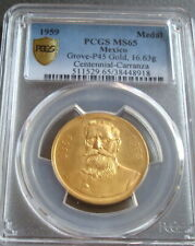 1959 MEXICO CARRANZA GOLD MEDAL CERTIFIED RARE PCGS  MS65