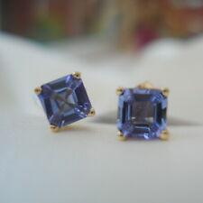 1.00ct Asscher Cut Tanzanite Gold Stud Earrings