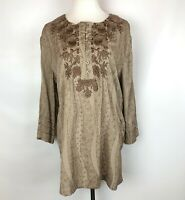 Como no? Cotton Blend Brown Tunic Top Floral Embroidered Size Large