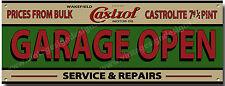 CASTROL GARAGE OPEN SERVICE & REPAIR METAL SIGN.GARAGE OPEN SIGN,INSTRUCTIONAL.