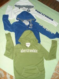 Lot of 3 ABERCROMBIE kids Hoodie Pullover White, blue, lime size M/XL fits same