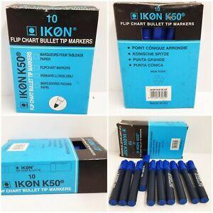 ICON K50 - 10 x  Blue  FLIP CHART MARKER PENS - BLUE BULLET TIP NEW