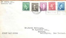 """Canada 1949  FDC #284-288     KING GEORGE  VI WITH  """"Postes-Postage"""""""