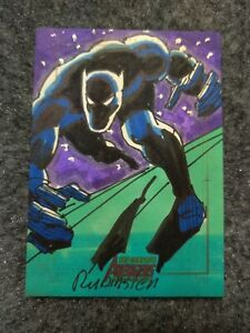 Marvel Complete Avengers Sketch Card Black Panther Joe Rubenstein Original Art